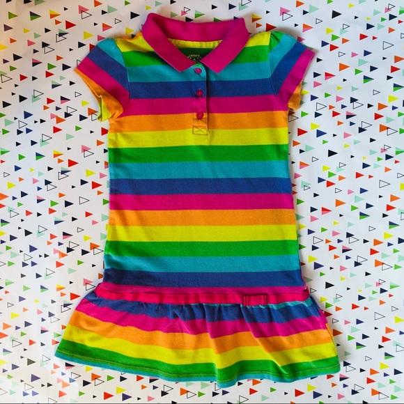 54bc33560 Carter's Dresses | Carters Girls Rainbow Striped Short Polo Dress ...